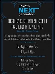 Unicef's Next Generation Emergency Releif Fundraiser-Cocktail