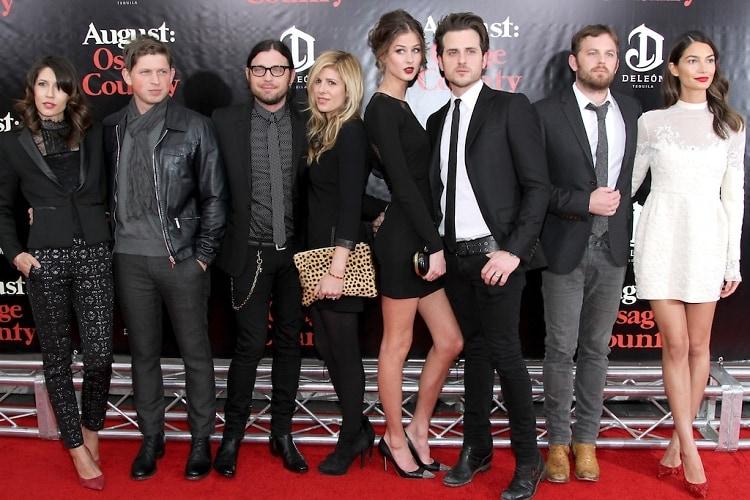Johanna Bennett, Matthew Followill, Nathan Followill, Jessie Baylin, Martha Patterson, Jared Followill, Caleb Followill and Lily Aldridge