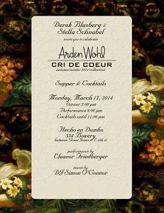 Dinner to Celebrate Arden Wohl's Cri De Couer