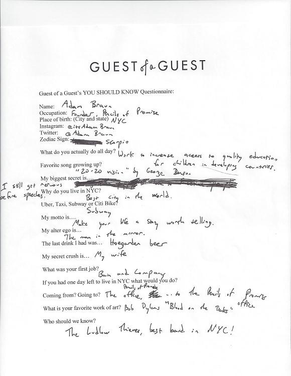 Adam Braun Questionnaire