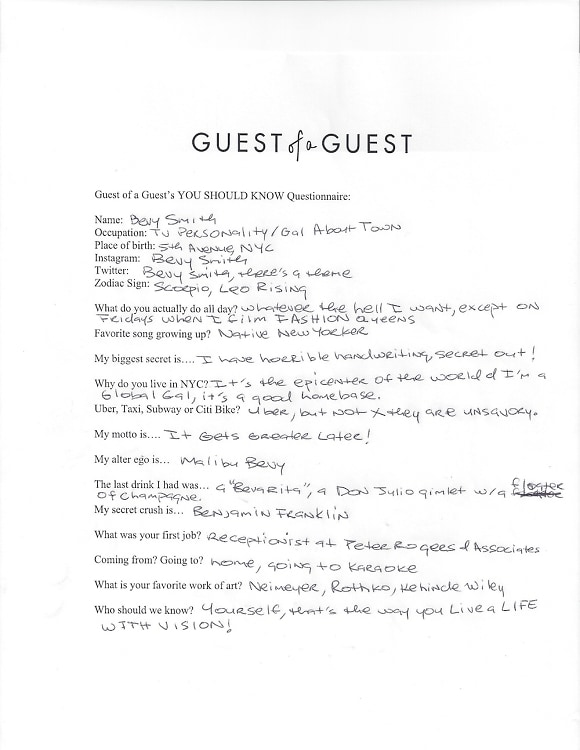 Bevy Smith Questionnaire