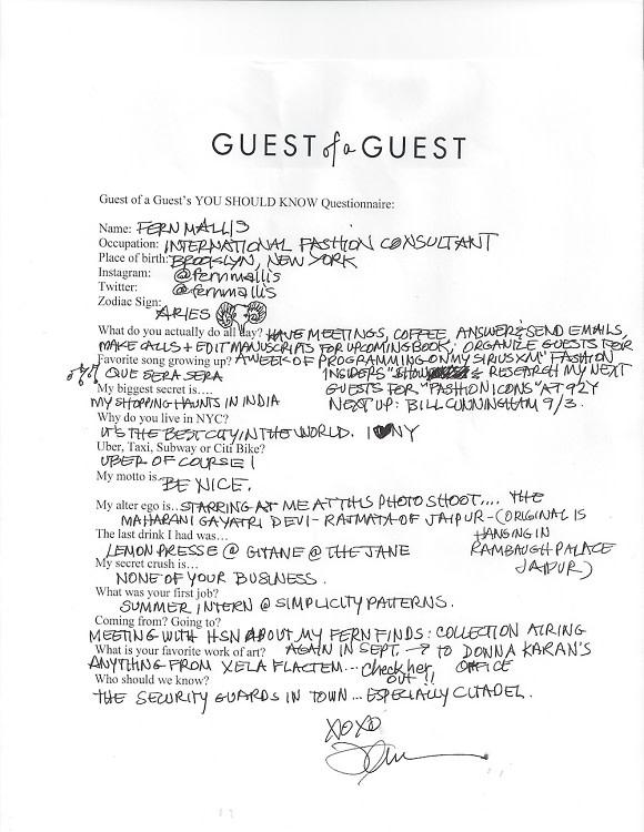 Fern Mallis Questionnaire