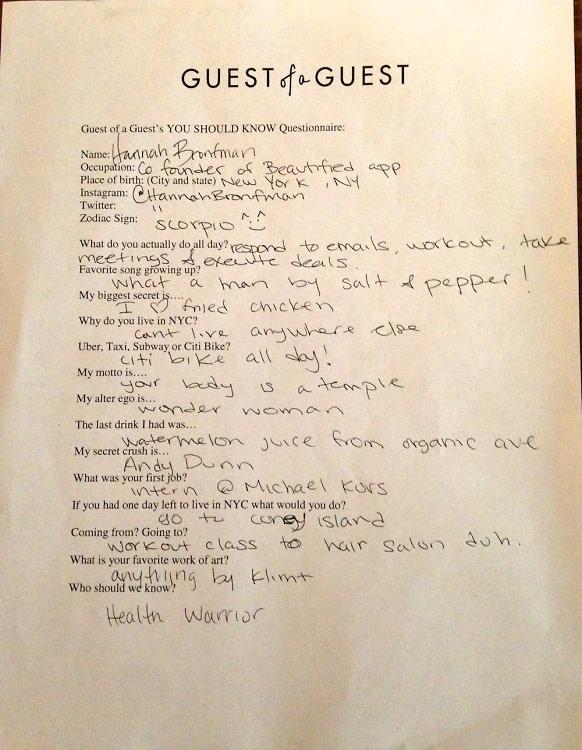 Hannah Bronfman Questionnaire