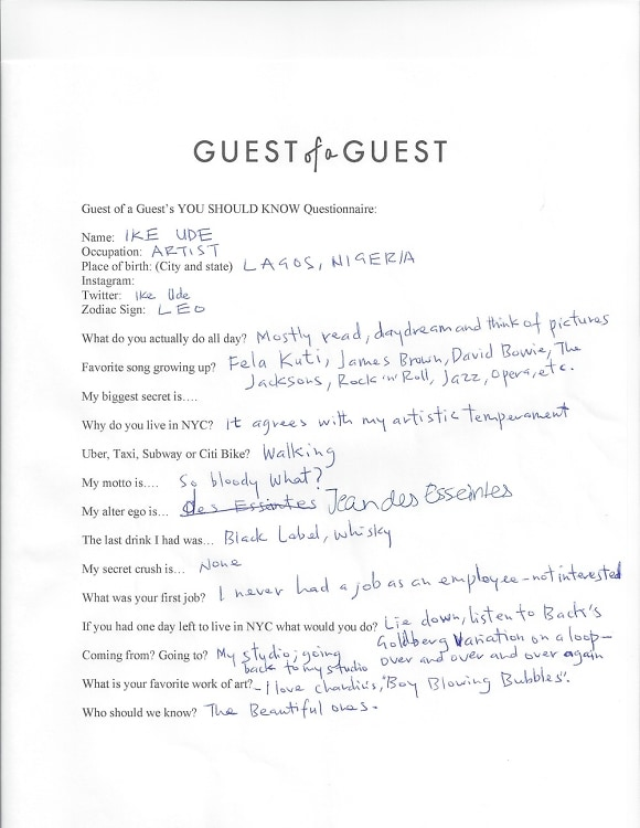 Ike Ude Questionnaire