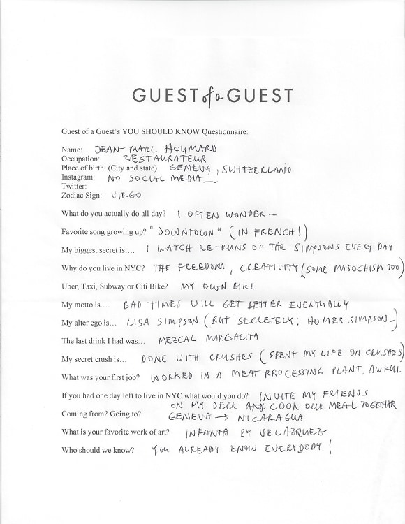 Jean Marc Houmard Questionnaire