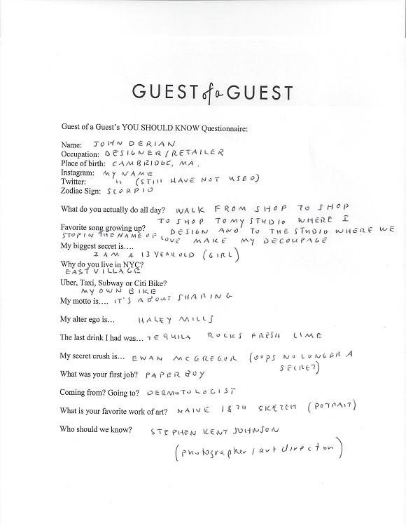 John Derian Questionnaire