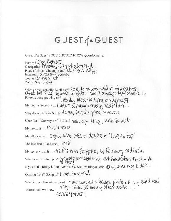 Casey Fremont Questionnaire