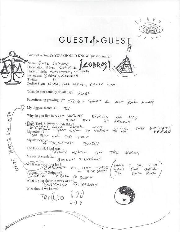 Gabe Saporta Questionnaire