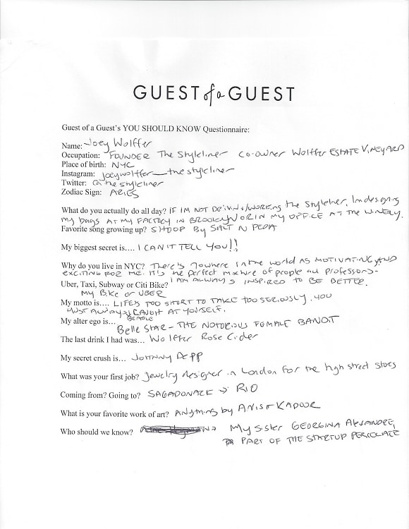 Joey Wolffer Questionnaire