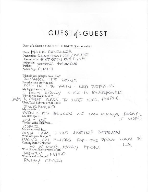Mark Gonzales Questionnaire