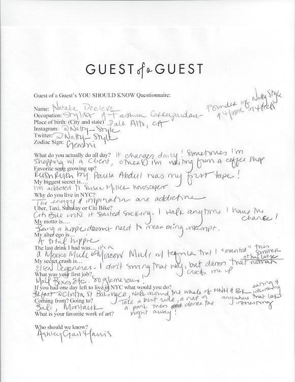 Natalie Decleve Questionnaire