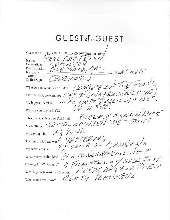 Paul Cantelon Questionnaire