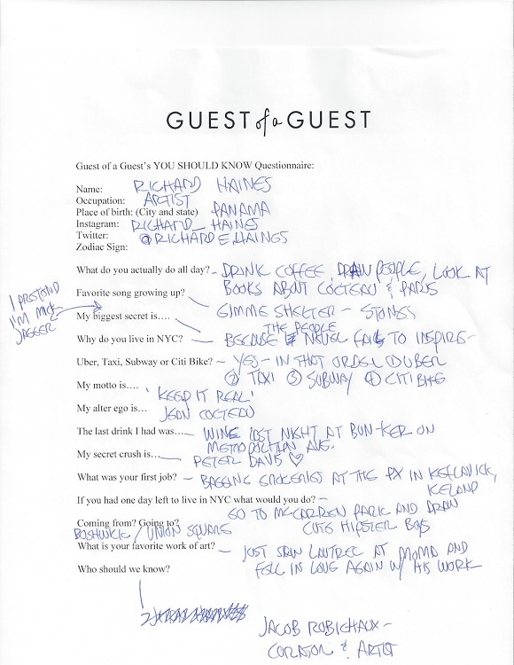 Richard Haines Questionnaire