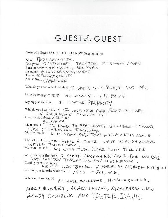 Ted Harrington Questionnaires