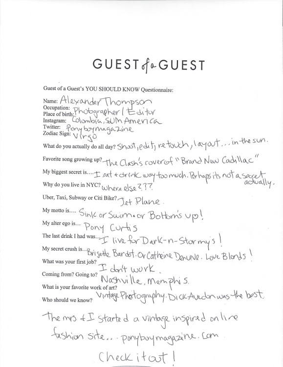 Alexander Thompson Questionnaire
