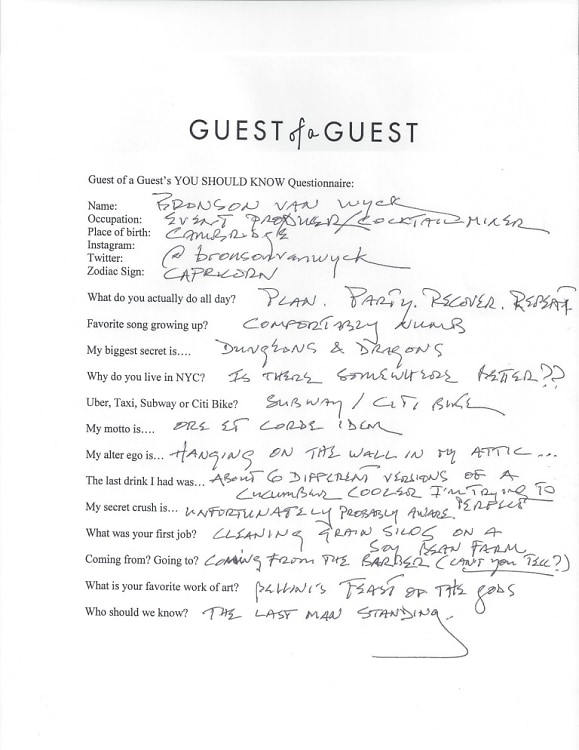 Bronson van Wyck questionnaire