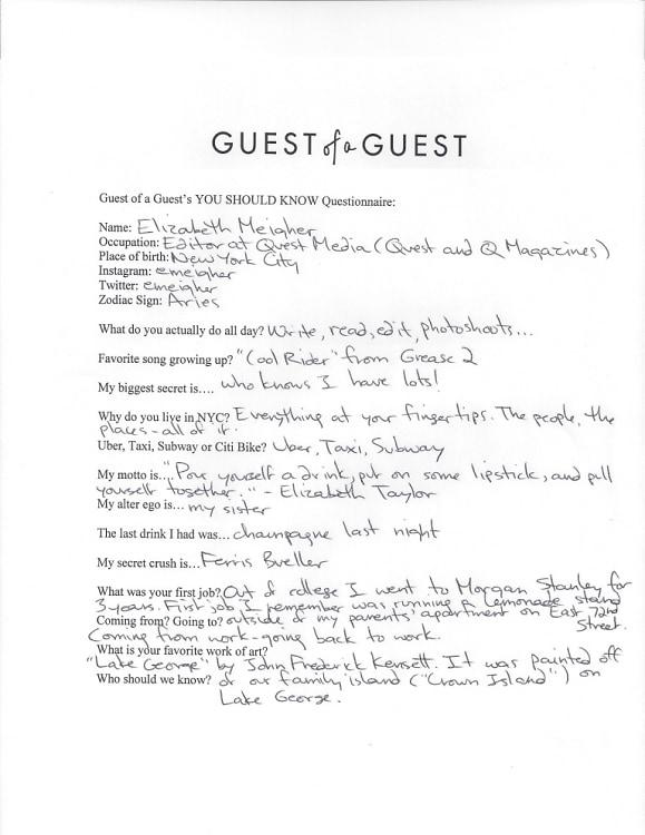 Elizabeth Meigher Questionnaire