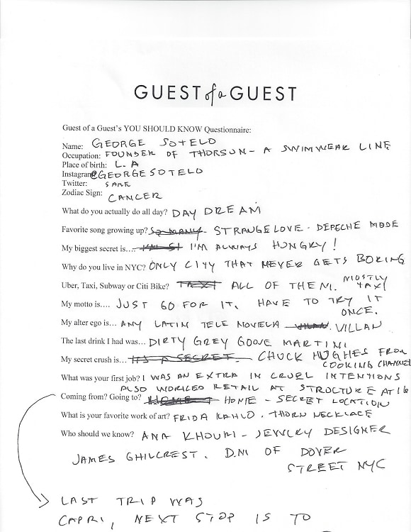 George Sotelo Questionnaire