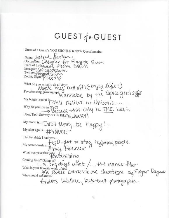 Jaime Barker Questionnaire