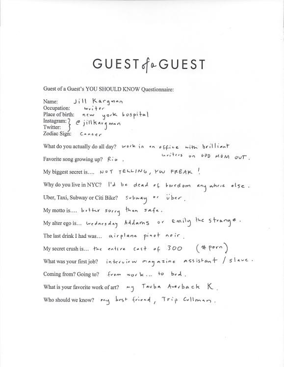 Jill Kargman Questionnaire