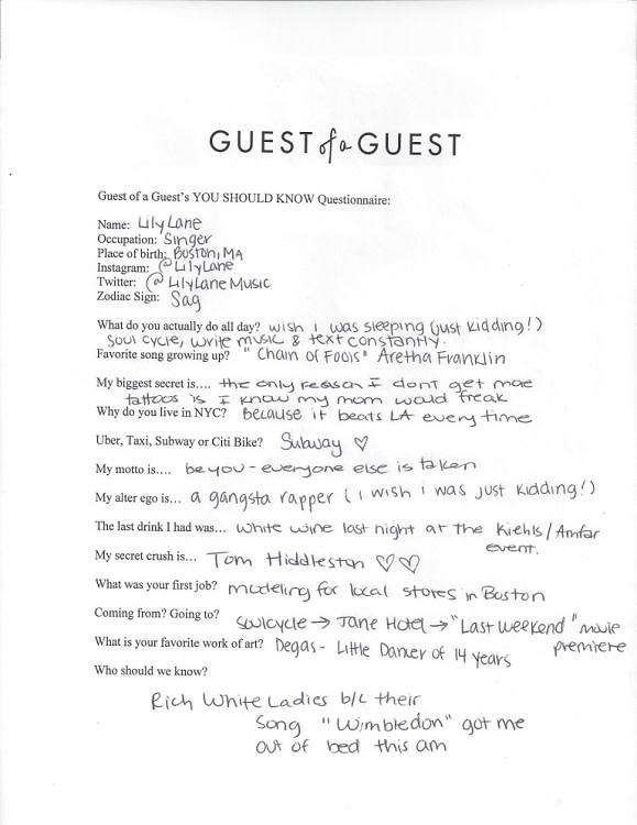 Lily Lane Questionnaire