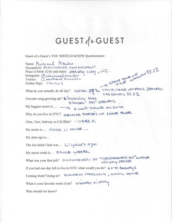 Michael Macko Questionnaire