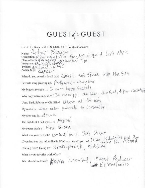 Parker Boase Questionnaire