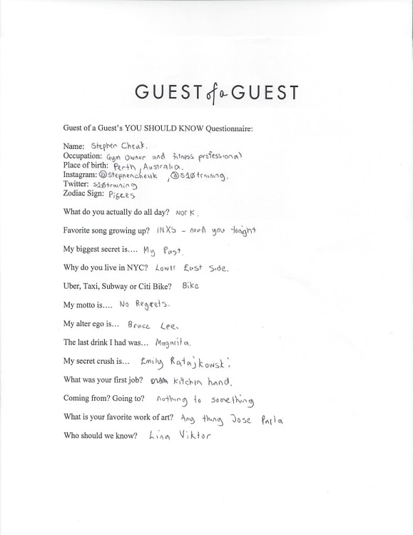 Stephen Cheuk Questionnaire
