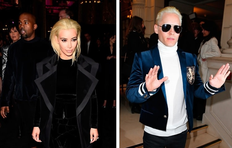 Who Wore It Better? Kim Kardashian & Jared Leto Both Go Bleach Blonde At Balmain