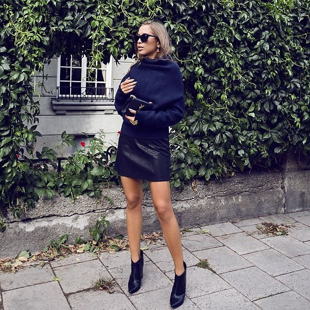 6b8dc08c0d8 Chunky Knit Play with textures and lengths by pairing a chunky knit sweater  with a mini skirt.