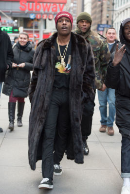 asap rocky in New York Fashion Week Street Style: Day 1