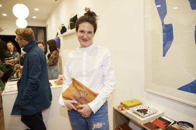 lauren sherman in Cocktails at Clare V. Cobble Hill Store