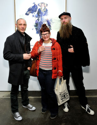 miek coccia in Eagle Hunters exhibition opening at Joseph Gross Gallery