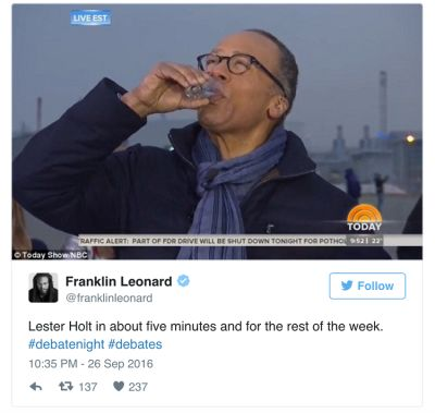 lester holt in The Funniest Celebrity Reactions To Last Night's Presidential Debate