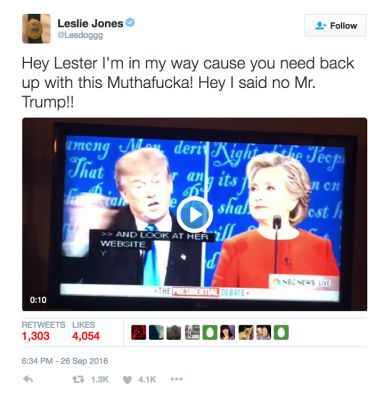 leslie jones in The Funniest Celebrity Reactions To Last Night's Presidential Debate