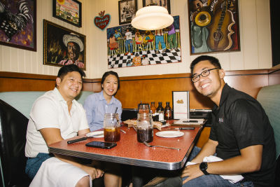 steven ly in Lucille's Smokehouse BBQ Pre-opening Celebration at The Shops at Montebello