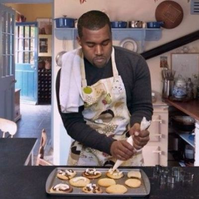 Kanye West making cookies
