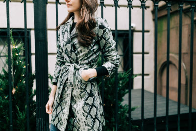 christie grimm in You 100% Need This Snakeskin Trench Coat