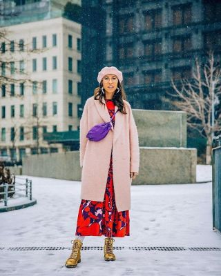 caroline vazzana in The Best Snowy Street Style Moments During NYFW