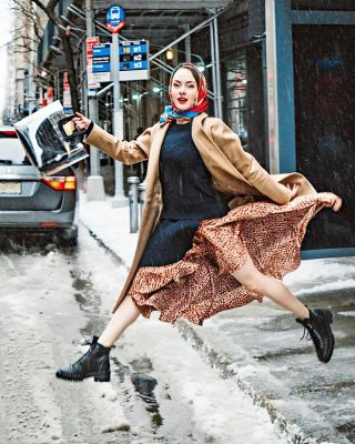 katya bychkova in The Best Snowy Street Style Moments During NYFW
