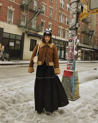 alyssa coscarelli in The Best Snowy Street Style Moments During NYFW