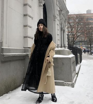 lauren caruso in The Best Snowy Street Style Moments During NYFW
