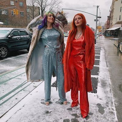 bella thorne in The Best Snowy Street Style Moments During NYFW