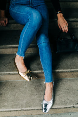 christie grimm in These Metallic Flats Are The Easiest Way To Look Effortlessly Cool This Fall