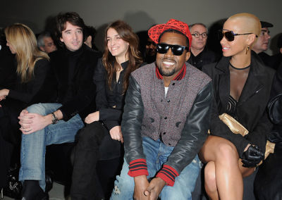 Antoine Arnault, Joana Preiss, Kanye West and Amber Rose attend the Givenchy Ready-to-Wear A/W 2009 fashion show
