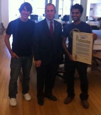 Dennis Crowley, Michael Bloomberg, Naveen Sevadurai