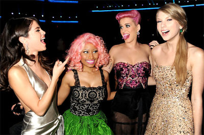 Selena Gomez, Nicki Minaj, Katy Perry, Taylor Swift