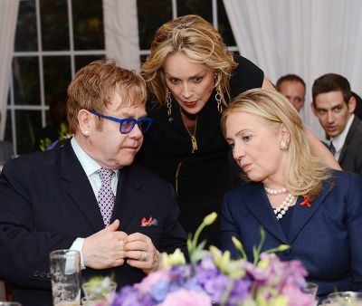 Sir Elton John, Sharon Stone, Hillary Clinton
