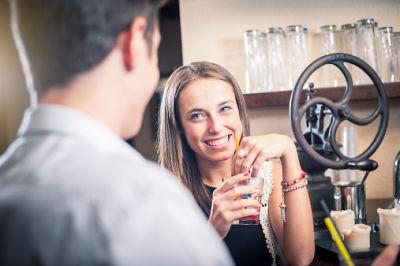 Flirting at a bar