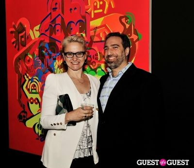 adam greenberger in Ryan McGinness - Women: Blacklight Paintings and Sculptures Exhibition Opening